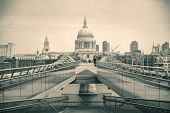 St Pauls Cathedral and Millennium Bridge in London.