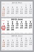 2015 june with red dating mark - current marked holiday is Father's Day - vector illustration