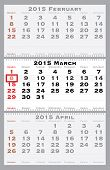 2015 march with red dating mark - current marked holiday is Women's Day - vector illustration