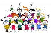 image of singing  - Vector illustration of group of children choir singing - JPG