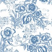 Floral Seamless Pattern In Blue Color