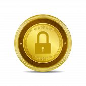 Protected Circular Gold Vector Web Button Icon