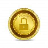 Unlock Circular Gold Vector Web Button Icon