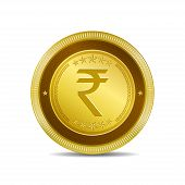 image of indian currency  - Rupee Currency Sign Circular Vector Gold Web Icon Button - JPG
