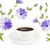 stock photo of chicory  - Cup of coffee with chicory - JPG