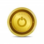 Power Circular Vector Gold Web Icon Button
