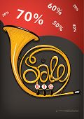 concept sale with french horn for poster design