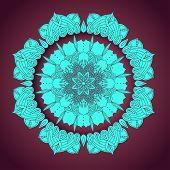 image of macrame  - vector delicate blue lace round mandala pattern - JPG