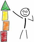 Stick Figures With Building Block Tower