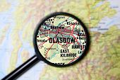 Glasgow magnified on a map