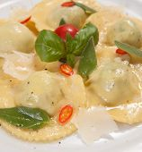 Ravioli with red chily pepper and sweet basil
