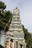 Side view of Goddess Durga temple tower or Gopuram or Vimana