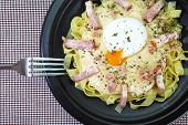 picture of carbonara  - Fresh Pasta Carbonara with ham and cheese - JPG
