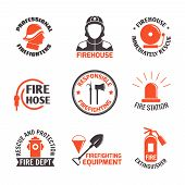 stock photo of firehouse  - Firefighting professional firehouse immediately rescue label set isolated vector illustration - JPG