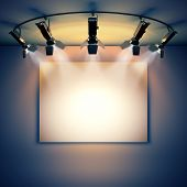 stock photo of illuminating  - 3d render illustration blank template layout of empty white picture canvas on wall illuminated by spotlights - JPG