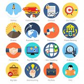 Set Of Colorful Icons In Modern Flat Design For Business  And Marketing.