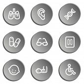 Medicine  web icon set 2, grey stickers set