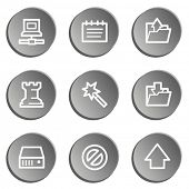 Data web icons, grey stickers set