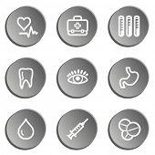 Medicine  web icon set 1, grey stickers set
