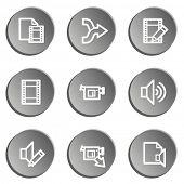 Audio video edit web icons, grey stickers set
