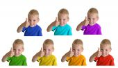 Boys In Iridescent Sports Shirts Show Gesture Ok, Collage