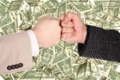 foto of american money  - Two fists gesture on dollar background collage - JPG