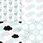 Seamless soft pastel clouds and flower blossom illustration background collection set pattern in vector