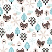 Seamless winter wolf in pastel blue scandinavian forest background pattern in vector