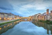 foto of trinity  - Ponte Vecchio view from St Trinity bridge at evening - JPG