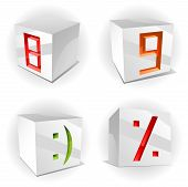 Vector cube alphabet numbers 8,9, smile and percent