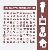 100 construction, development, land, architecture, city, business plan icons, signs set, vector