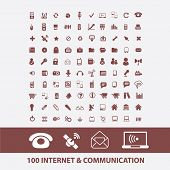 100 internet, communication, cloud, network, computer, server, link icons, signs set, vector