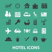 hotel, motel, vacation icons, signs set, vector