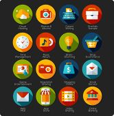 set of flat design Icons for mobile devices, mobile app, social network, online shopping and socila