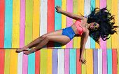 image of wooden pallet  - Tropical summer holiday fashion vogue concept  - JPG