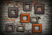 Grungy Old Wall Full Of Wooden Frames