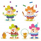 Cartoon circus clowns set