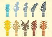 guitar headstock vector set