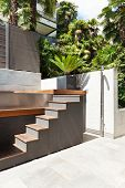 beautiful modern house, view from the terrace, stair