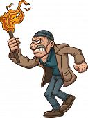 Angry man carrying a torch. Vector clip art illustration with simple gradients. All in a single layer.