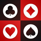 Playing cards suits icons made in modern flat design. Vector illustration