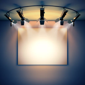 picture of illuminated  - 3d render illustration blank template layout of empty white picture canvas on wall illuminated by spotlights - JPG