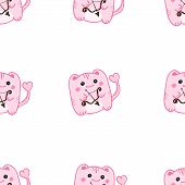 Vector St Valentine Day Cute Pink Cupid Monsters Seamless Pattern