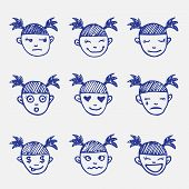 foto of emoticons  - Vector doodle emoticons set - JPG