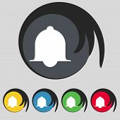 Alarm bell sign icon. Wake up alarm symbol. Speech bubbles information icons. Set of colourful butto