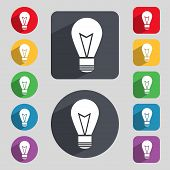 Light lamp sign icon. Idea symbol. Lightis on. Set of colored buttons. Vector