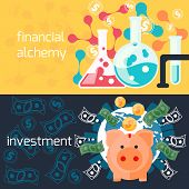 Global investment and financial alchemy concept