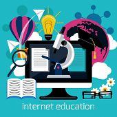 Distance education with internet services concept