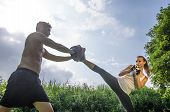 stock photo of martial arts girl  - Woman training self difense martial arts with coach  - JPG