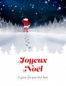 Santa delivery presents to village against joyeux noel